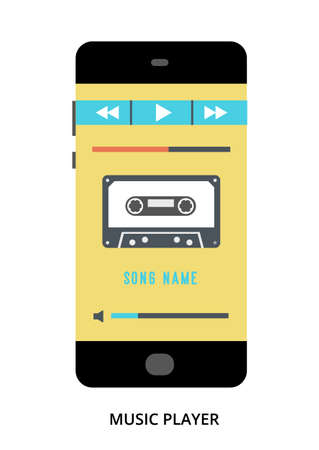 Music Player concept on black smartphone with different user interface elements, flat vector illustration