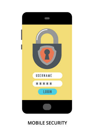 Mobile Security concept on black smartphone with different user interface elements, flat vector illustration