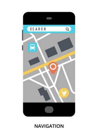 Navigation concept on black smartphone with different user interface elements, flat vector illustration Illustration