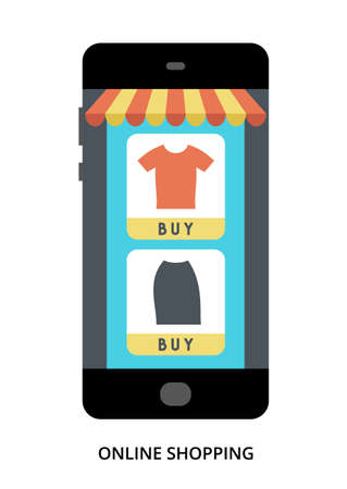 Online Shopping concept on black smartphone with different user interface elements, flat vector illustration Çizim