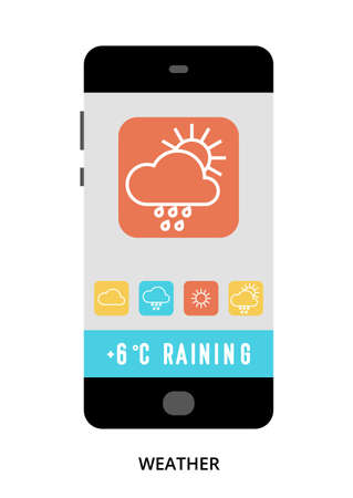 Weather concept on black smartphone with different user interface elements, flat vector illustration Çizim