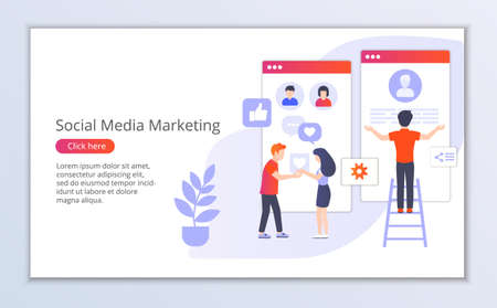 Website template of social media marketing, flat design vector illustration, for graphic and web design Çizim