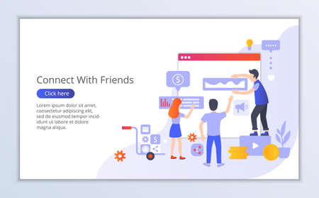 Website template of connect with friends, flat design vector illustration, for graphic and web design
