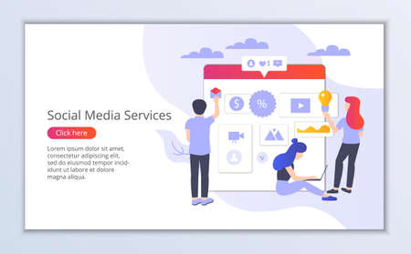 Website template of social media services, flat design vector illustration, for graphic and web design Çizim
