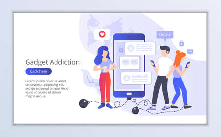 Website template of gadget addiction, flat design vector illustration, for graphic and web design