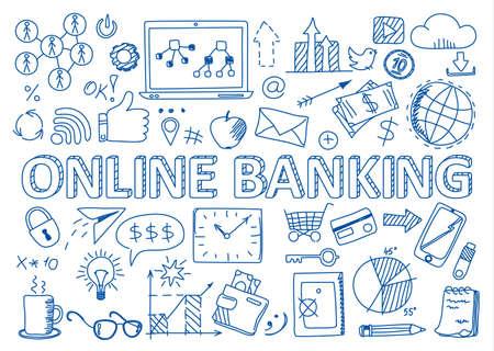 Illustration vectorielle de conception dessinée à la main, ensemble d'icônes bancaires en ligne dans le style doodles, pour la conception graphique et web