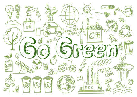 Hand drawn design vector illustration, set of go green icons, in doodle style, for graphic and web design