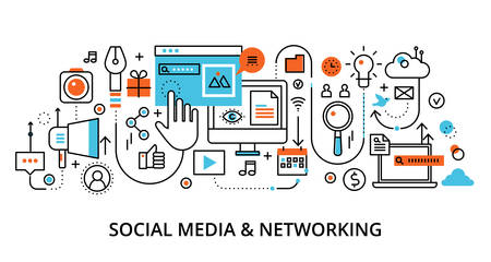 Modern flat line design vector illustration, concept of social media and social networking, for graphic and web design Çizim