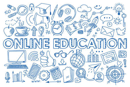 Hand drawn design vector illustration, set of online education icons in doodle style, for graphic and web design Çizim