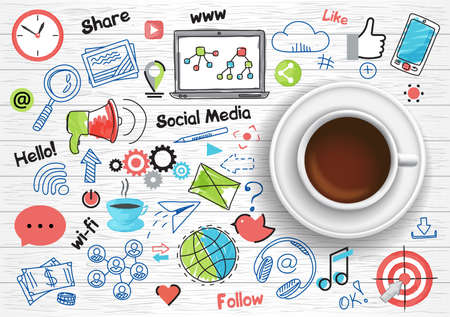 Hand drawn design vector illustration, coffee cup with set of social media and social networking concept icons in doodle style, for graphic and web design Ilustrace