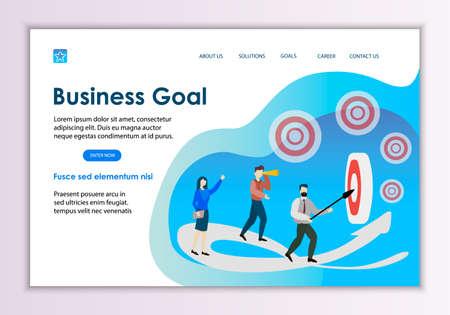 Creative website template of business goal concept, modern flat design vector illustration  イラスト・ベクター素材
