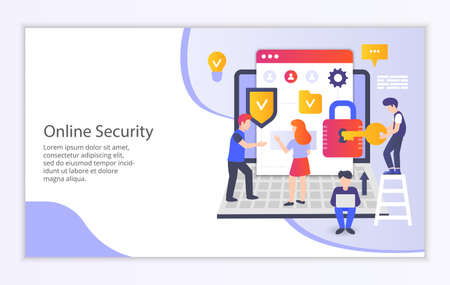 Creative website template of online security concept, modern flat design vector illustration Ilustração