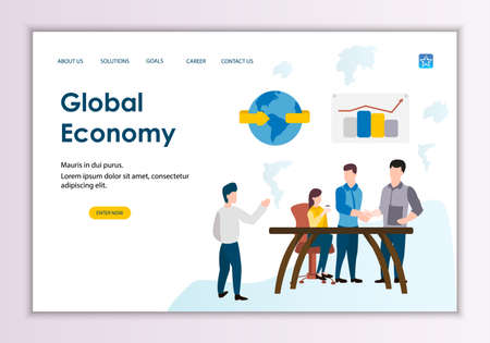Creative website template of global economy concept, modern flat design vector illustration Ilustrace