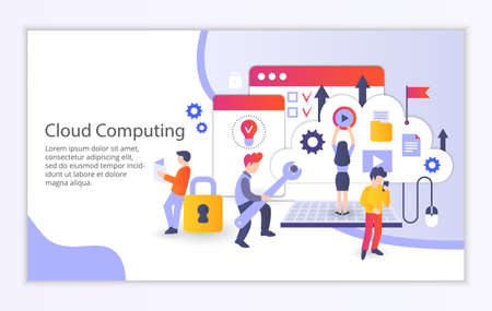 Creative website template of cloud computing concept, modern flat design vector illustration Ilustrace