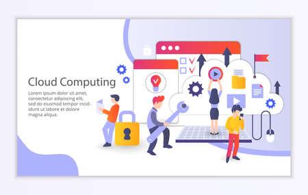 Creative website template of cloud computing concept, modern flat design vector illustration Illustration