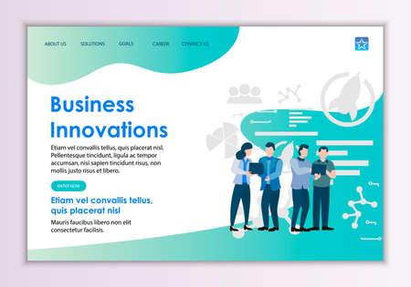 Creative website template of business innovations concept, modern flat design vector illustration