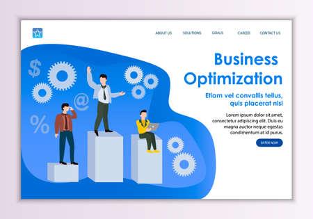 Creative website template of business optimization concept, modern flat design vector illustration  イラスト・ベクター素材