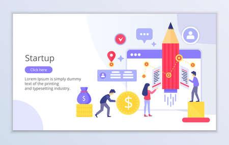 Creative website template of startup concept, modern flat design vector illustration, for graphic and web design