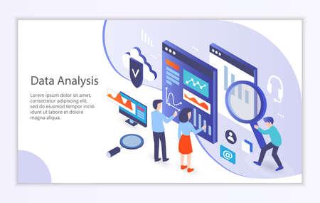 Creative website template of data analysis concept, modern flat design vector illustration
