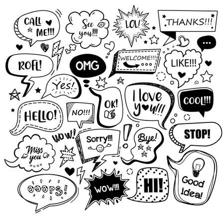 Set of black speech bubbles with different words in doodle style for communication in social media. Isolated vector illustration Çizim