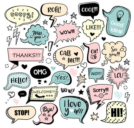 Set of color speech bubbles with different words in doodle style for communication in social media. Isolated vector illustration