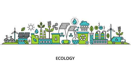 Concept of ecology problem with word and generation and saving green energy for graphic and web design, flat line vector illustration  Çizim
