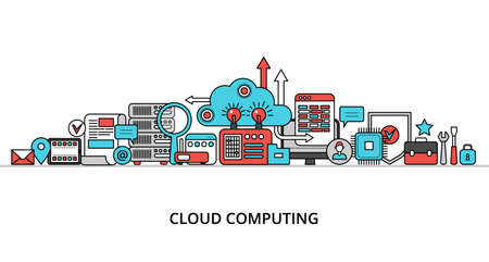 Modern flat thin line design vector illustration, concept of cloud computing technologies, for graphic and web design