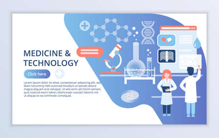 Creative website template of Medicine and Technology concept, modern flat design vector illustration, for graphic and web design Çizim