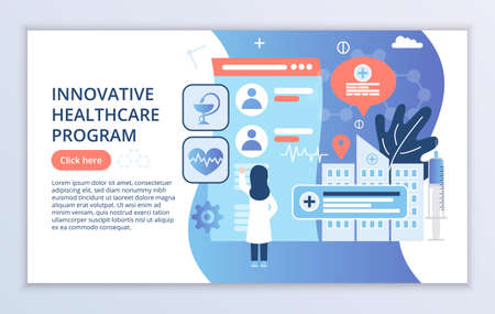 Creative website template of Innovative Healthcare Program concept, modern flat design vector illustration, for graphic and web design