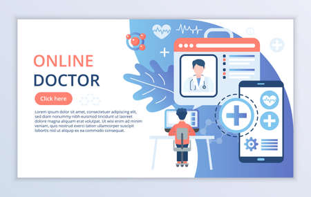 Creative website template of Online Doctor concept, modern flat design vector illustration, for graphic and web design Çizim