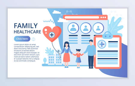 Creative website template of Family Healthcare concept, modern flat design vector illustration, for graphic and web design