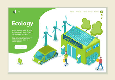 Concept of ecology problem, generation and saving green energy, website template, 3D isometric style vector illustration