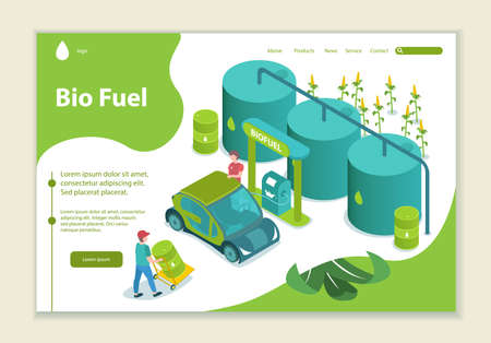 Concept of bio fuel, generation and saving green energy, website template, 3D isometric style vector illustration  イラスト・ベクター素材
