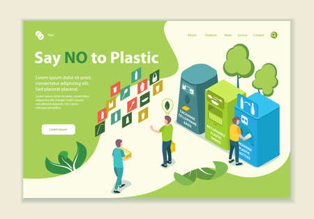 Concept of say no to plastic, website template, 3D isometric style vector illustration
