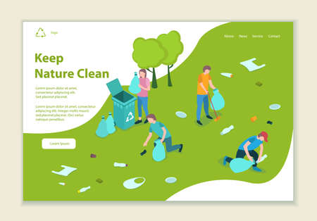 Concept of keep nature clean, website template, 3D isometric style vector illustration