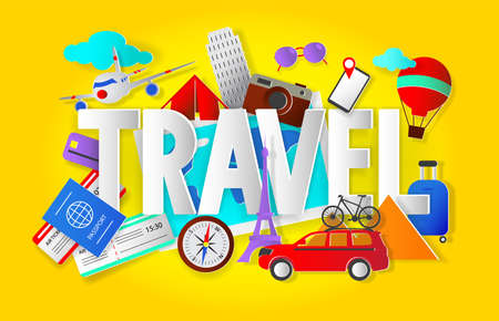 Travel concept with word, paper cut style vector illustration