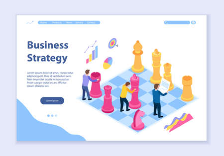 Creative website template of business strategy concept, 3D isometric design vector illustration