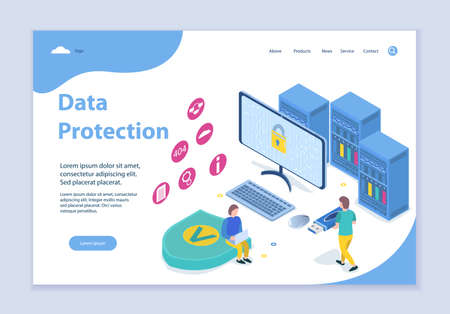Creative website template of data protection concept, 3D isometric design vector illustration
