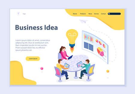 Creative website template of business idea concept, 3D isometric design vector illustration  イラスト・ベクター素材