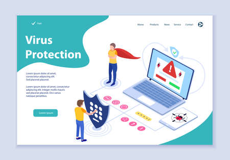 Creative website template of virus protection concept, 3D isometric design vector illustration