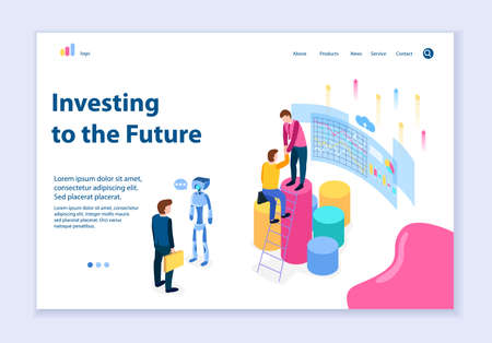 Creative website template of investing to the future concept, 3D isometric design vector illustration  イラスト・ベクター素材