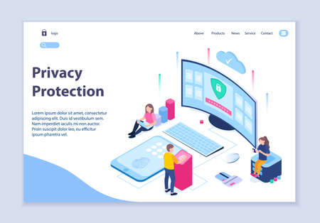 Creative website template of privacy protection concept, 3D isometric design vector illustration  イラスト・ベクター素材