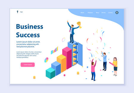 Creative website template of business success concept, 3D isometric design vector illustration  イラスト・ベクター素材