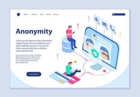 Creative website template of anonymity concept, 3D isometric design vector illustration