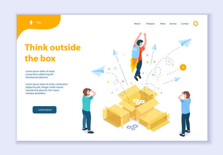 Creative website template of Think Outside the Box concept, 3D isometric vector illustration, for graphic and web design
