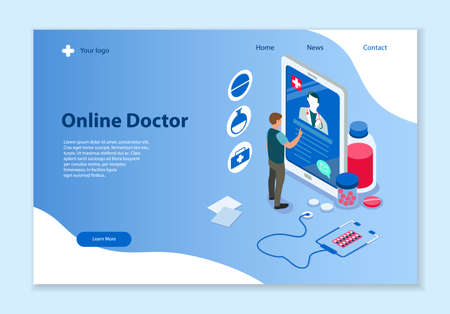 Creative website template of Online Doctor concept, 3D isometric vector illustration, for graphic and web design  イラスト・ベクター素材