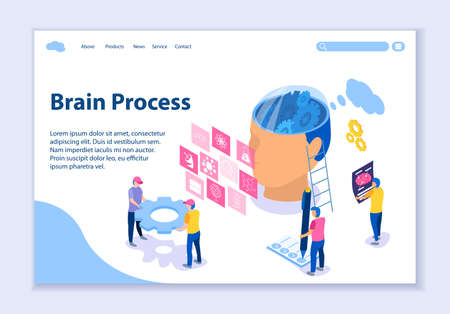 Creative website template of Brain Process concept, 3D isometric vector illustration, for graphic and web design