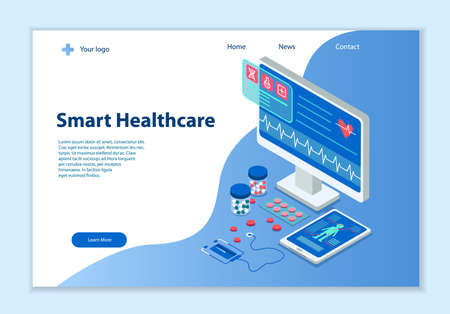 Creative website template of Smart Healthcare concept, 3D isometric vector illustration, for graphic and web design