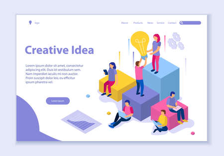 Creative website template of Creative Idea concept, 3D isometric vector illustration, for graphic and web design Vettoriali