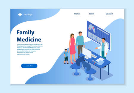 Creative website template of Family Medicine concept, 3D isometric vector illustration, for graphic and web design